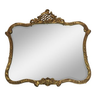 Early 19th Century French Rocco Style Gold Leaf Wood Wall Mirror For Sale