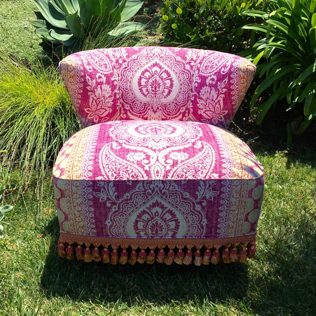 These Slipper Chairs are loaded with beautiful character and personality. The color combination and block print pattern...