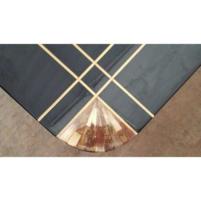 Black Mid-Century Black Lacquer Inlaid Brass and Tessellated Horn Coffee Table For Sale - Image 8 of 10