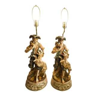 20th Century Capodimonte Porcelain Boy and Dog Figurine Lamps - a Pair