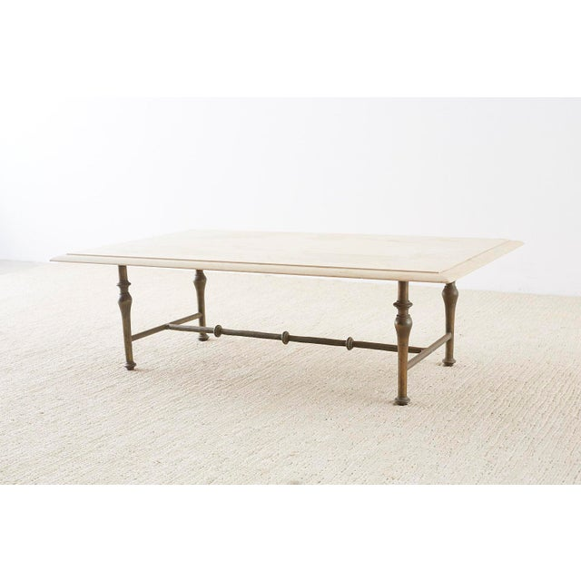 Hollywood Regency Italian Hollywood Regency Marble-Top Brass Cocktail Table For Sale - Image 3 of 13