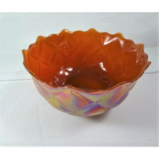 """Pretty Carnival glass iridescent bowl, ruffled edge, quilted pattern, 7"""" across Very rich color inside, pearl iridescent..."""