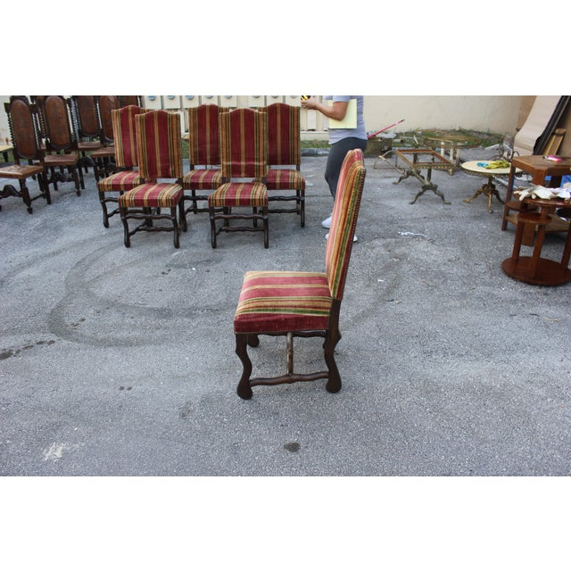 Monumental Set Of Louis XIII Style Solid Walnut Os De Mouton Dining Chairs - Set of 6 - Image 9 of 11