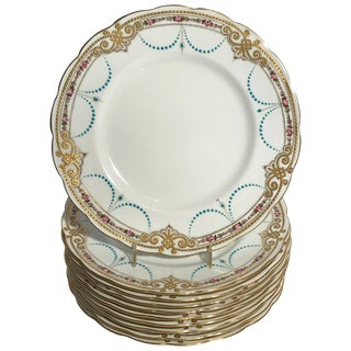 Ten Exquisite Turquoise Jeweled Hand Painted Pink Rose Dinner Plates For Sale