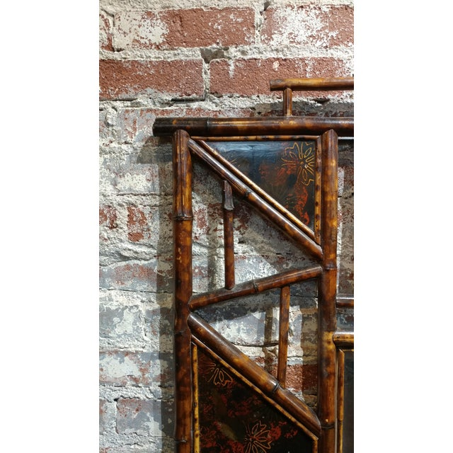 19th Century Victorian Bamboo Mirror W/ Chinoiserie Lacquer Accents-1880s