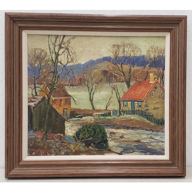"""Fern Coppedge (American, 1883-1951) """"Winter - New Hope"""" Original Oil Painting C.1920 For Sale - Image 9 of 9"""