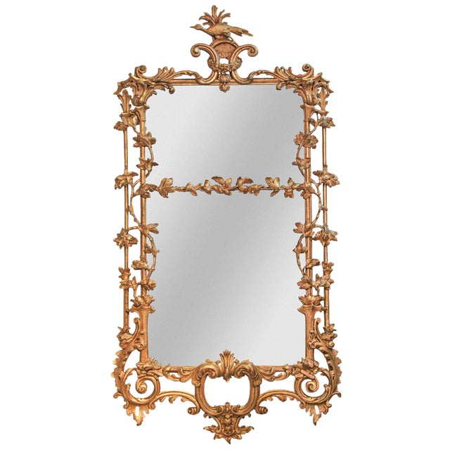 Rare Early 19th Century English Chippendale Gilt Mirror For Sale