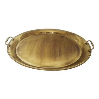 Large Vintage Hollywood Regency Brass Handled Serving Tray