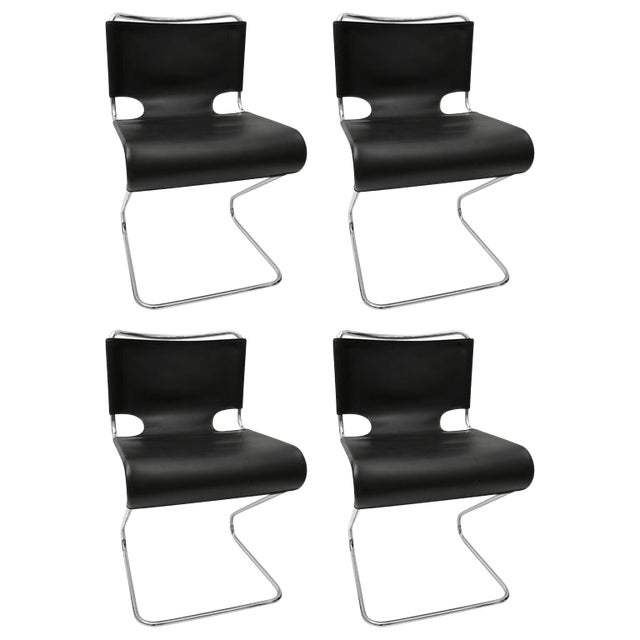 "Set of Four ""Briscia"" Side Chairs in Polished Chrome and Black Leather - Image 1 of 7"