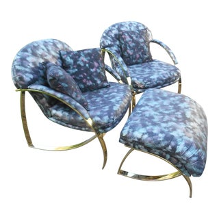 Vintage Carson's Sculptural Mid-Century Modern Lounge / Club Chairs W Ottoman - 3 Piece For Sale