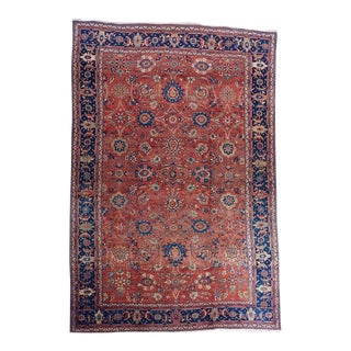 Oversized Red Ground Mahal Carpet For Sale
