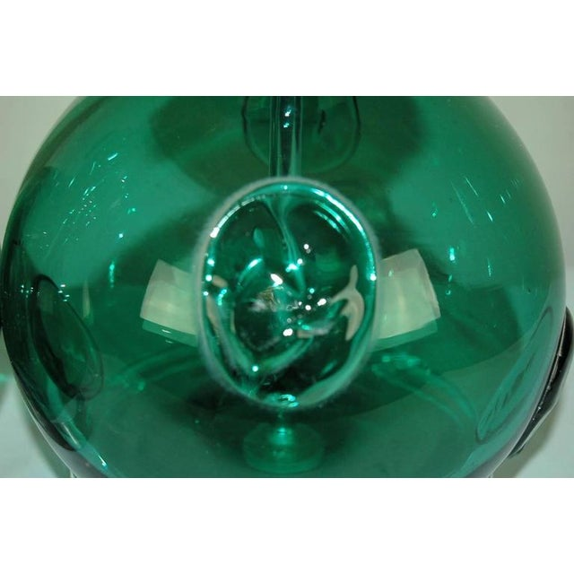 Gold Vintage Murano Glass Table Lamps Prunts Green For Sale - Image 8 of 10