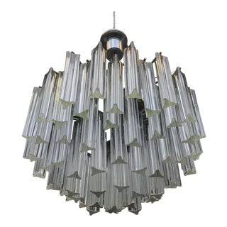 1960s Italian Murano Glass Prism Chandelier For Sale