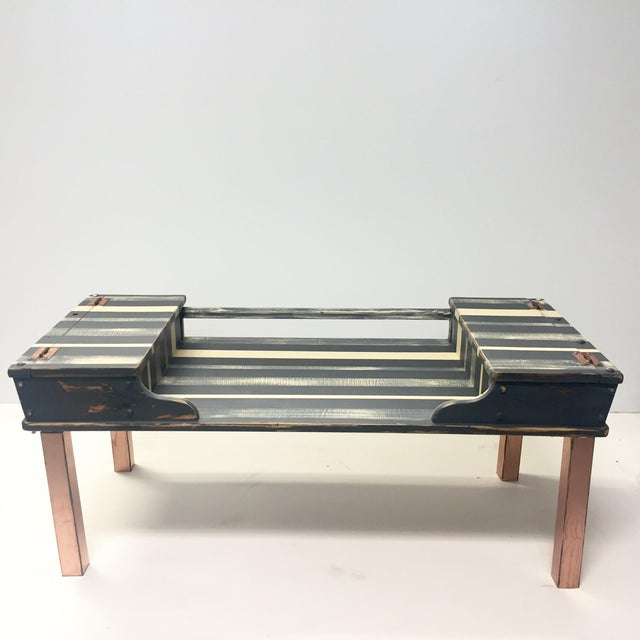 Striped Storage Coffee Table - Image 2 of 9