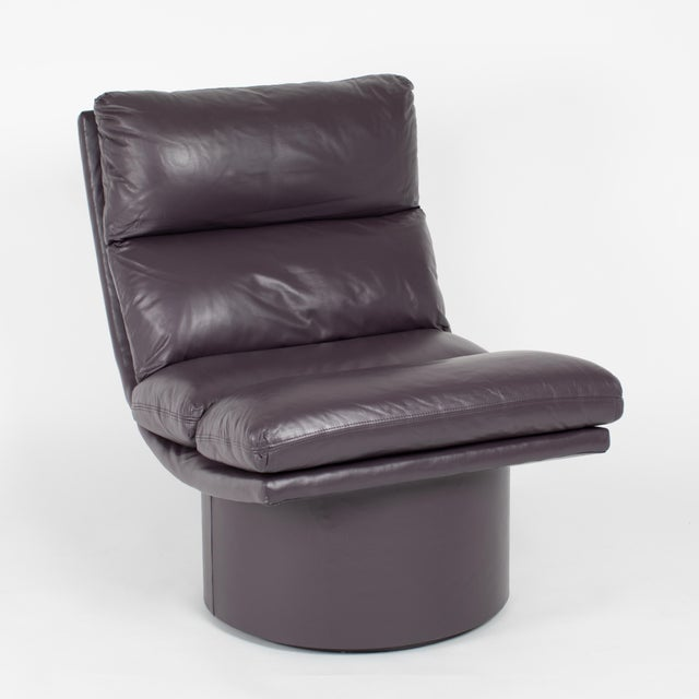 Eggplant Leather Scoop Chairs on Swivel Bases, Circa 1980s For Sale - Image 10 of 13