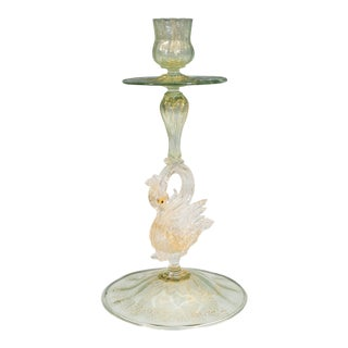 Venetian Blown Glass Candlestick with Swan Motif by Salviati For Sale