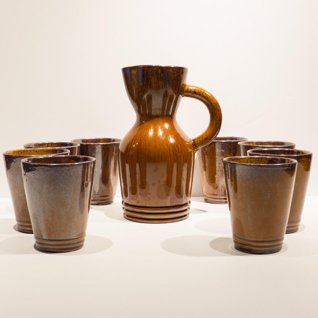 Pitcher with Eight Cups by Atelier du Grand Chene For Sale - Image 4 of 10