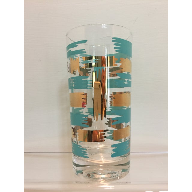 Set of 8 Mid Century Vintage Turquouse and Gold Brush Stroke Highball Tumbler Glasses - Image 5 of 5