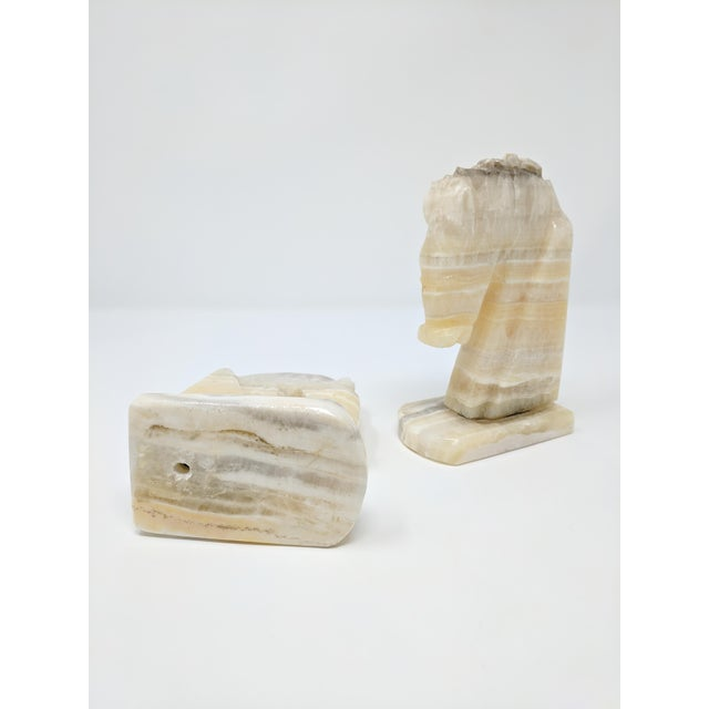 Mid 20th Century Art Deco Alabaster Horse Bookends - a Pair For Sale - Image 5 of 7