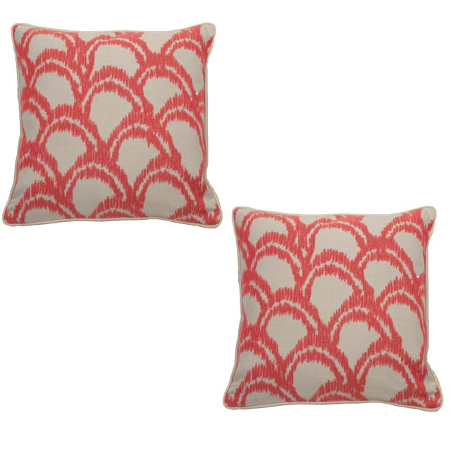 """Summer Classics Pair of Indoor/Outdoor Alena Pillows in Indigo, 20""""x 20"""" For Sale - Image 4 of 4"""