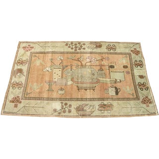 C. 1900s Antique Handmade Samarkand - 5′6″ × 8′10″ For Sale