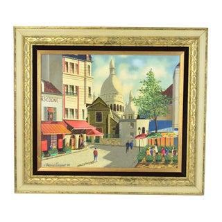 1960s Vintage Roland Vernet Parisian Street Scene La Boheme Du Tertre Painting For Sale