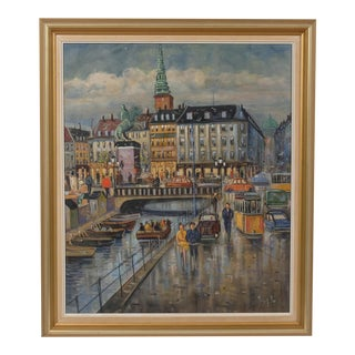 Mid-C. Colorful Canal in the Rain Cityscape For Sale