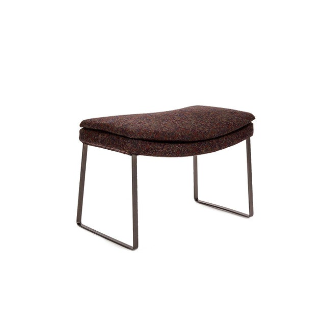 2010s B&b Italia Eggplant Wool Upholstered Ottoman With Bronze Nickel Painted Base For Sale - Image 5 of 5