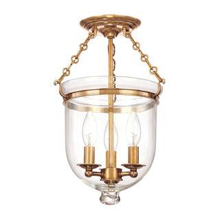 Hampton 3 Light Semi Flush - Aged Brass Preview