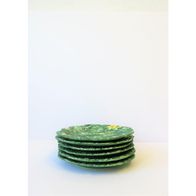 Set of Six Italian Designer Green Matte Pottery Plates With Lotus Design For Sale - Image 9 of 10