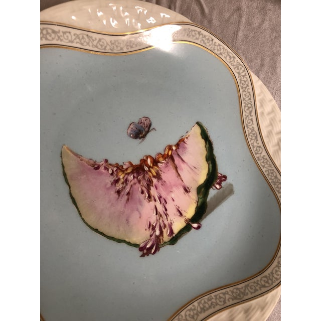 Limoges, France Early 20th Century Melon & Butterfly Limoges France Hand Painted Plate For Sale - Image 4 of 6