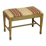 Image of Wooden Piano Bench With Upholstered Seat For Sale