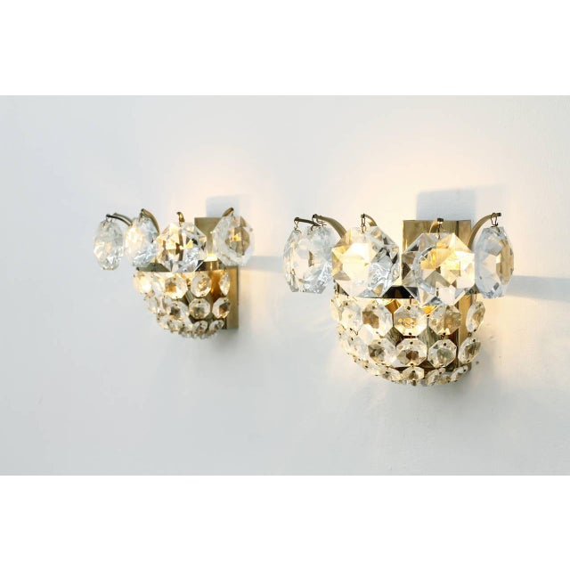 Metal One of Four Wall Sconces by Bakalowits Crystal and Nickel, Austria, Circa 1960s For Sale - Image 7 of 8