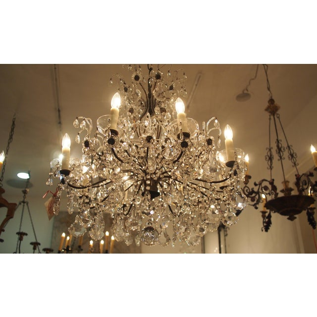 Crystal Eight Light Crystal Chandelier with Flowers on Beaded Stems For Sale - Image 7 of 10
