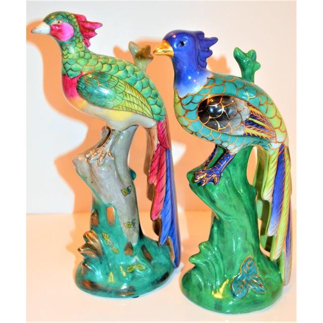 (Final Markdown) 1970s Vintage Majolica Parakeet & Pheonix Figurines - Set of 3 For Sale - Image 10 of 12