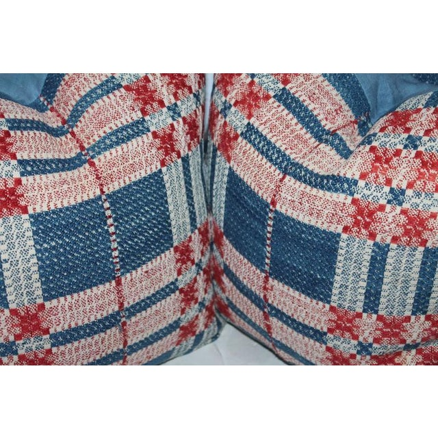 Americana 19th Century Hand-Woven Jacquard Coverlet Pillows, Pair For Sale - Image 3 of 3