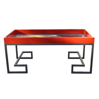 1980s Vintage Enameled Steel & Glass Coffee Table For Sale