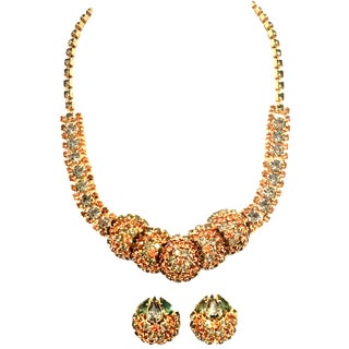 1950's Vintage Joseph Warner Gold & Swarovski Crystal Necklace and Earrings - Set of 3 For Sale
