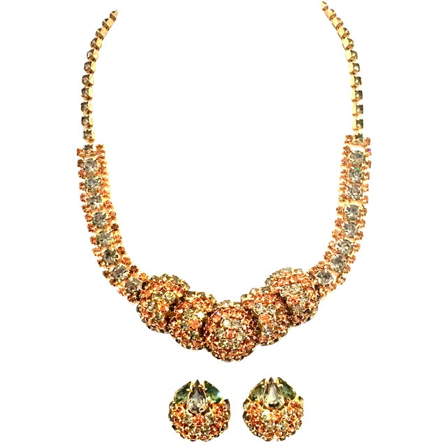 1950's Vintage Joseph Warner Gold & Swarovski Crystal Necklace and Earrings - Set of 3 For Sale