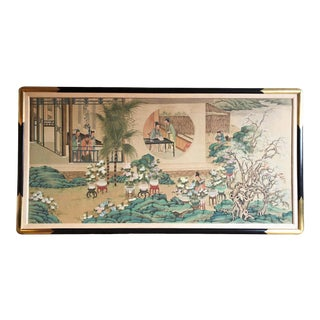 Mid 20th Century Figurative Chinese Watercolor Silk Painting, Framed For Sale