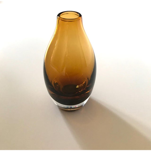 Vintage 1970s Scandinavian Modern Sommerso Glass Vase in Amber For Sale In Miami - Image 6 of 13