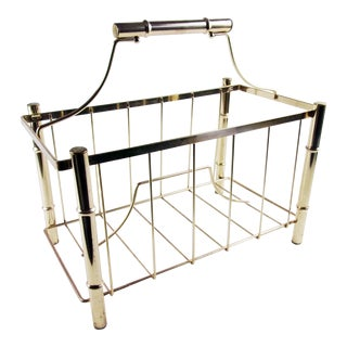 1970s Vintage Faux Bamboo Brass Magazine Rack For Sale