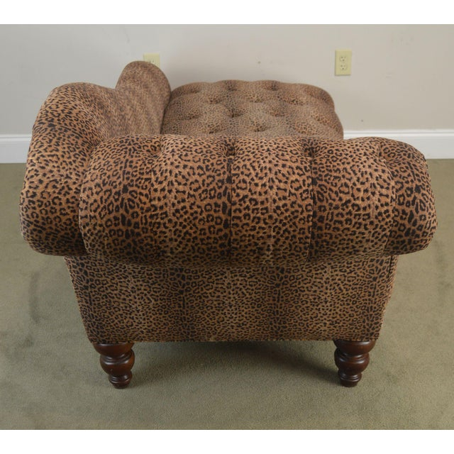 1990s Leopard Print Upholstered Tufted Chaise Lounge Recamier For Sale - Image 5 of 12