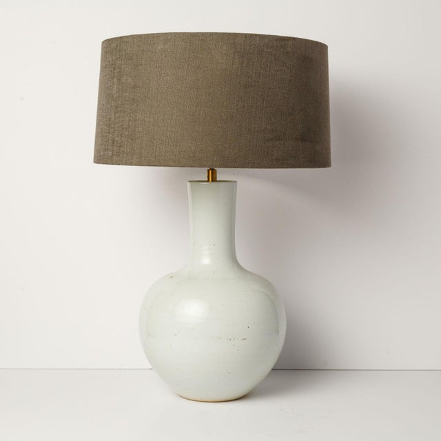 Gray Custom White Glazed Table Lamp For Sale - Image 8 of 8