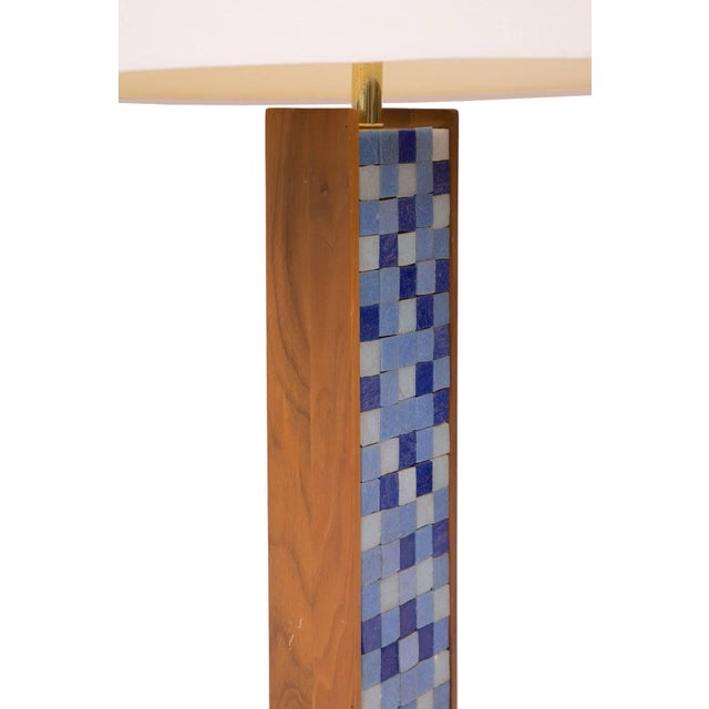 Solid walnut and mosaic table lamp, circa late 1950s. This came from an estate with Allen Ditson and Lee Porzio items and...