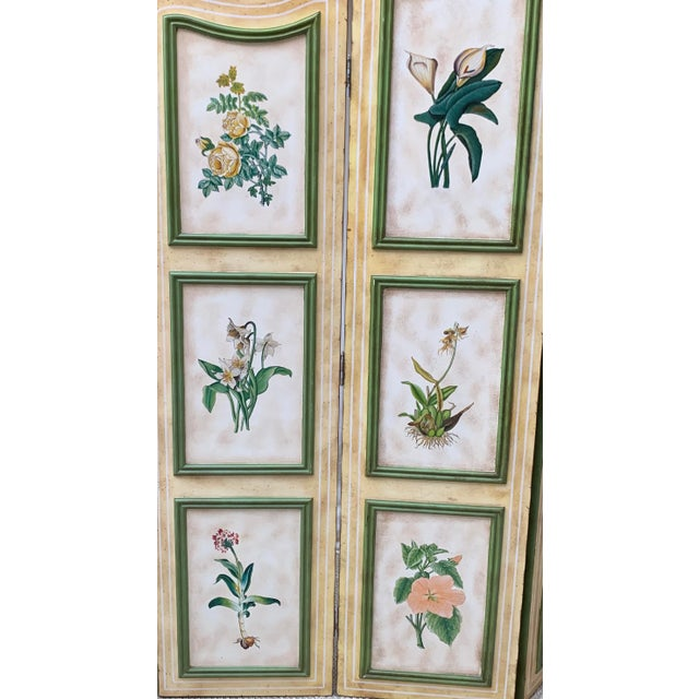 Vintage Early 20th Century French Hand-Painted Floral Botanical Wood Screen For Sale In Los Angeles - Image 6 of 12