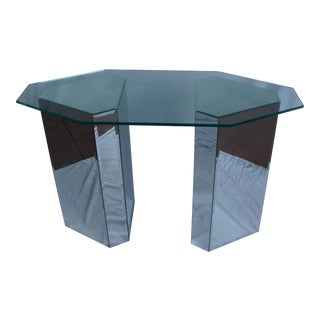 Gabriella Crespi Style Beveled Mirrored Bases and Glass Top Console Table