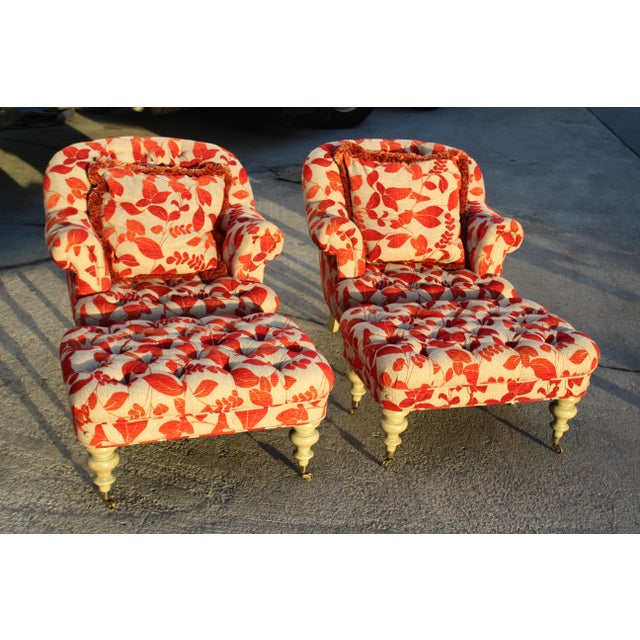 Late 20th Century Contemporary Cream With Red Leaf Upholstery Club Chairs With Ottomans - a Pair For Sale - Image 5 of 8