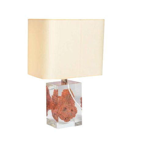 Natural Red Coral in Lucite Block Table Lamps - Sold Indivdually For Sale