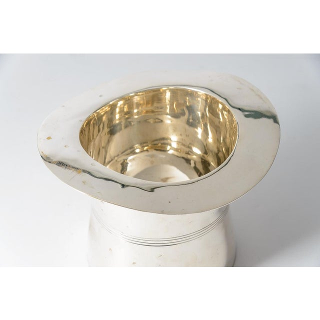 Brass Silver Plated Top Hat Champagne Bucket by Godinger For Sale - Image 7 of 12